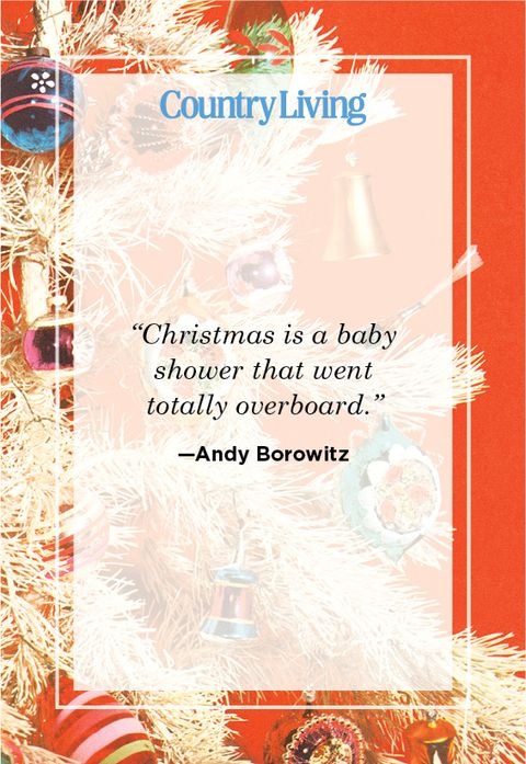 funny christmas quote from andy borowitz about christmas and a baby shower