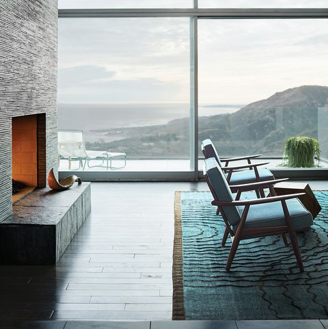 Living area with fireplace and stupendous California view