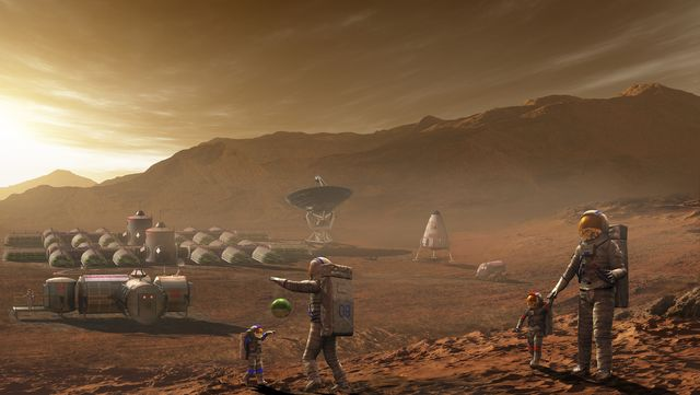 future mars colonists playing with children on mars, a place they call home