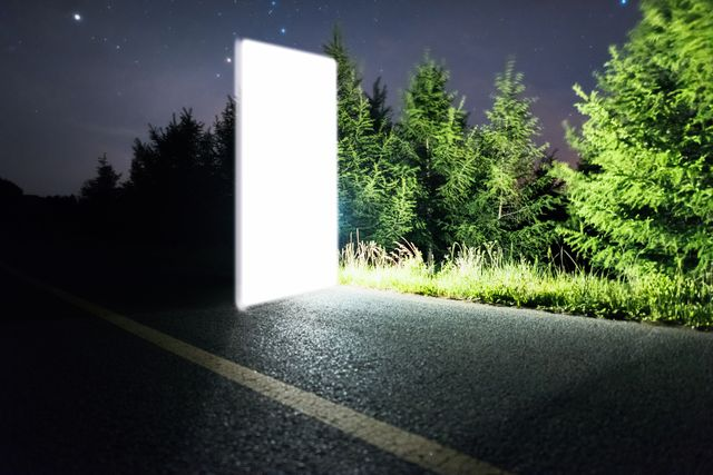 futuristic bright door to space