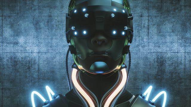 futuristic evil cyborg head
