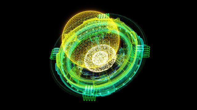 futuristic holographic nuclear fusion particles simulation