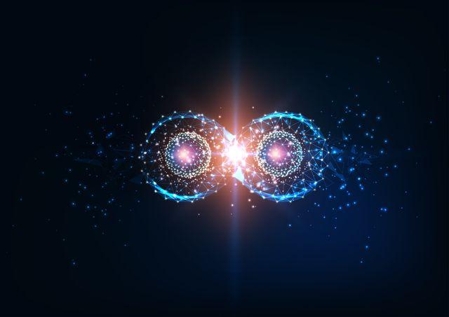 futuristic infinity symbol, quantum entanglement, future physics science concept