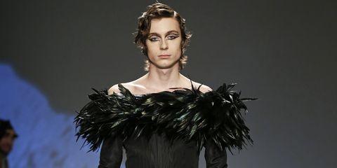 Fashion model, Fashion, Runway, Clothing, Fashion show, Shoulder, Haute couture, Dress, Fashion design, Outerwear,