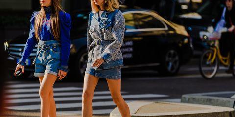 Street fashion, Blue, Fashion, Fashion model, Clothing, Beauty, Electric blue, Leg, Human leg, Footwear,