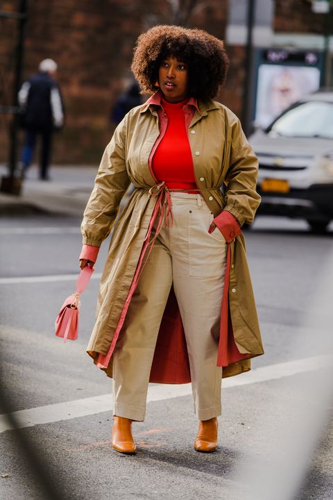 Street fashion, Clothing, Fashion, Orange, Snapshot, Outerwear, Coat, Human, Beige, Trench coat,