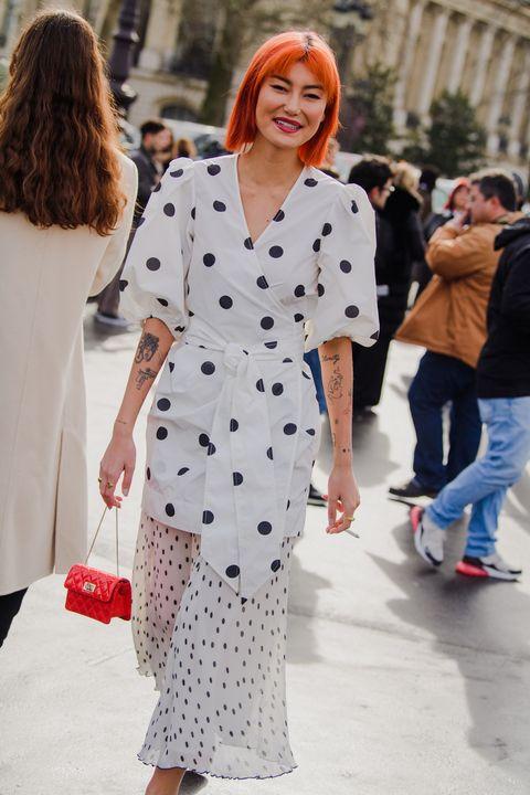 White, Clothing, Street fashion, Polka dot, Fashion, Pattern, Dress, Design, Lip, Outerwear,
