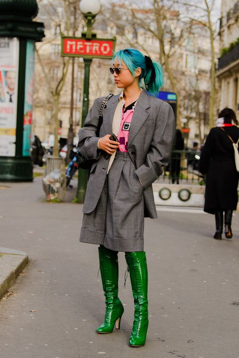 Street fashion, Green, Photograph, Clothing, Fashion, Snapshot, Coat, Street, Footwear, Outerwear,
