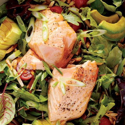 Salmon Salad With Avocado and Sweet Grape Tomatoes