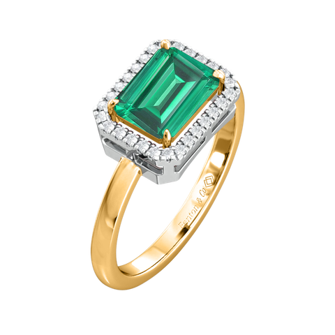 fenton emerald and gold engagement ring