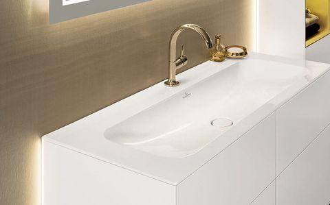 Plumbing fixture, Architecture, Bathroom sink, Room, Property, Tap, Wall, Interior design, Sink, Bathroom accessory,