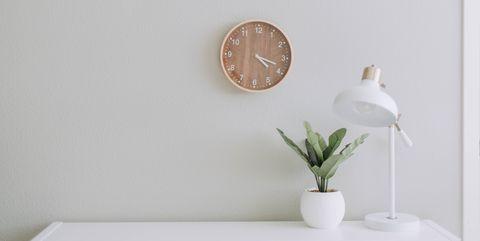 White, Wall, Room, Plant, Circle, Wood, Interior design, Plaster, Clock, Furniture,