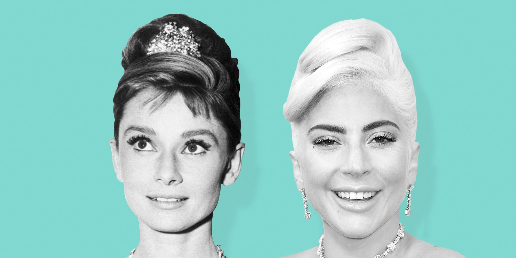 Lady Gaga and Audrey Hepburn in the Tiffany Diamond