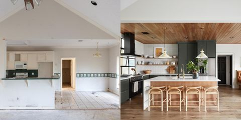 very outdated kitchen turned into a modern beautiful one