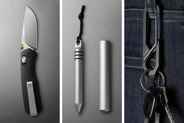 the carter knife,  the stillwell pen,  the holcombe carabiner