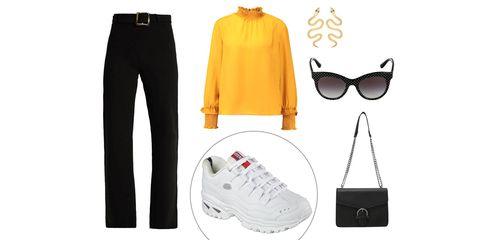 White, Clothing, Yellow, Sportswear, Footwear, Fashion, Eyewear, Jeans, Glasses, Shorts,