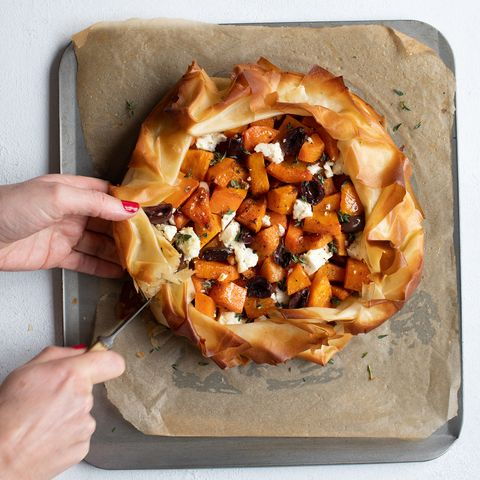 galette with butternut squash feta olives