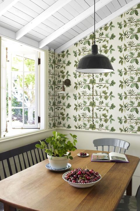 Green, Room, Ceiling, Interior design, Dining room, Furniture, Table, Wall, Wallpaper, Building,
