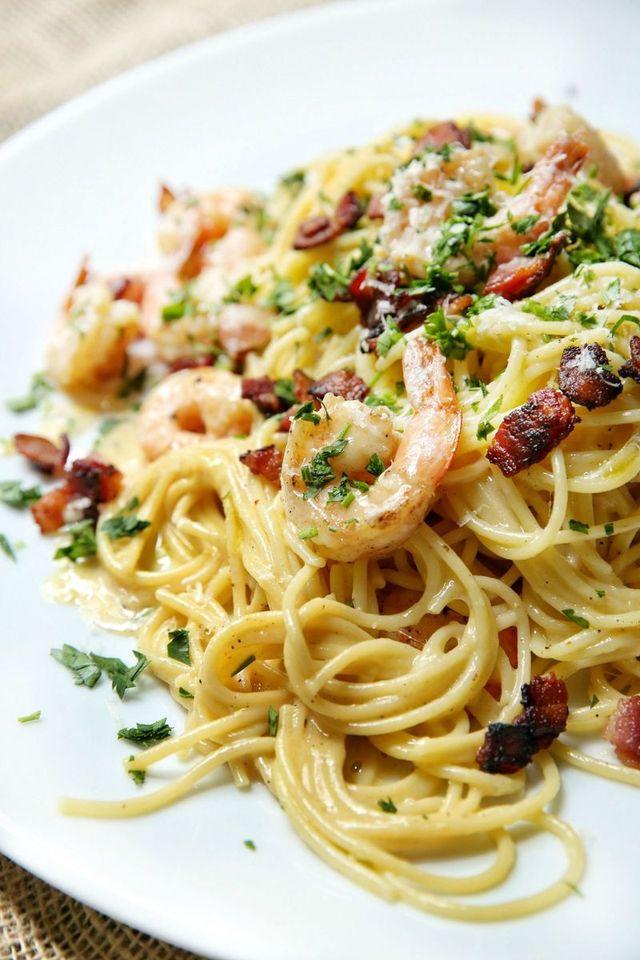 prawn spaghetti carbonara