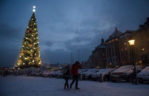 Winter, Sky, Snow, Christmas tree, Town, Landmark, Tree, Evening, Night, Cloud,