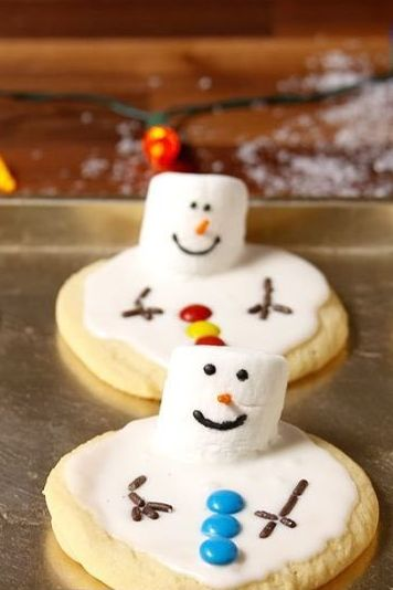christmas cookies melted snowman cookies