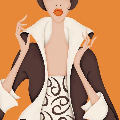 Cartoon, Orange, Illustration, Outerwear, Animation, Art, Style, Fictional character, Fashion illustration,