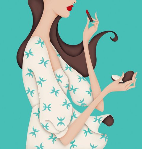 Turquoise, Illustration, Teal, Fashion illustration, Finger, Hand, Art, Long hair, Gesture,