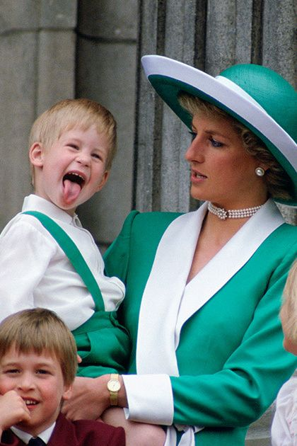 london, united kingdom   june 11  prince harry sticking his tongue out much to the suprise of his mother, princess diana at trooping the colour with  prince william, lady gabriella windsor and lady rose windsor watching from the balcony of buckingham palace  photo by tim grahamgetty images