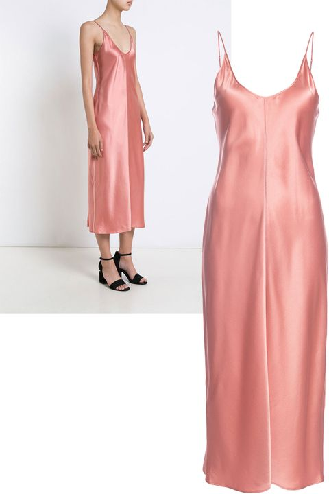 Clothing, Dress, Pink, Day dress, Peach, Neck, Gown, Satin, Cocktail dress, A-line,