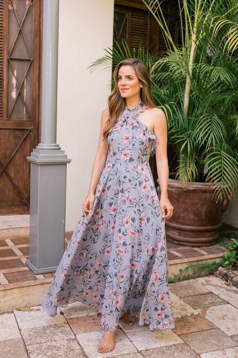 Clothing, Dress, Shoulder, Day dress, Fashion, Waist, Fashion model, Summer, Gown, Formal wear,