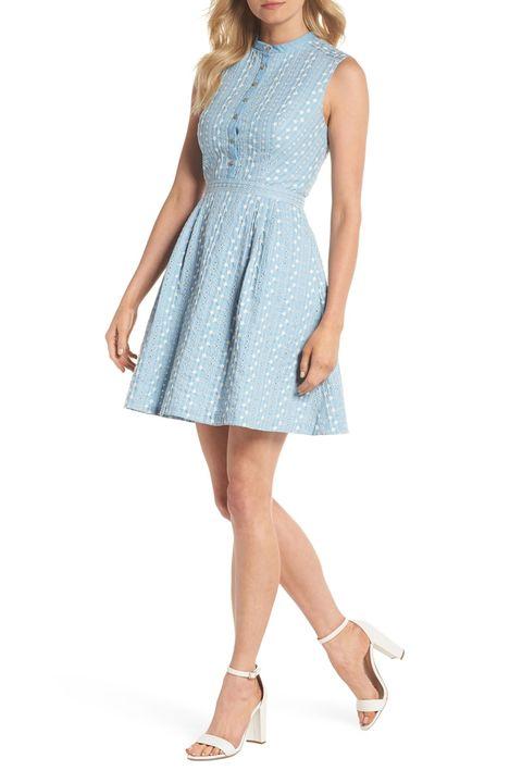 Clothing, Dress, Day dress, Cocktail dress, Blue, A-line, Aqua, Shoulder, Turquoise, Neck,