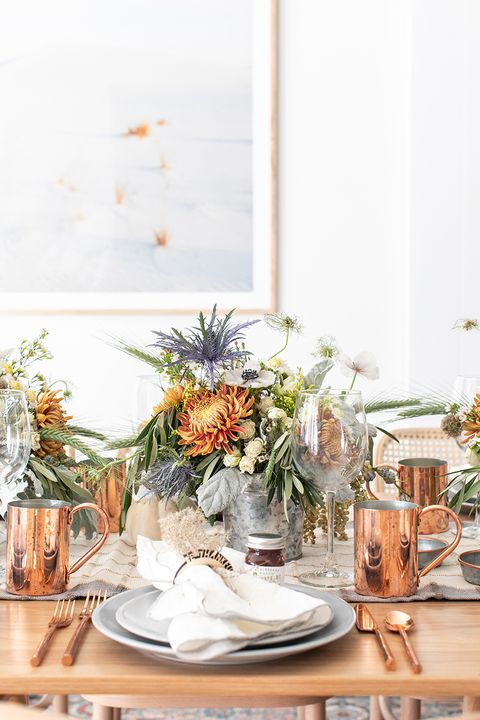 Galvanized Bucket Thanksgiving Centerpiece