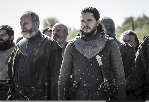 Game of Thrones season 8, episode 5: Ser Davos (Liam Cunningham) and Jon Snow (Kit Harington)