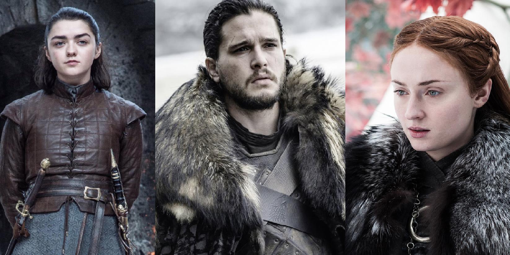 game of thrones seizoen 8,Arya Stark, Jon Snow,Sansa Stark