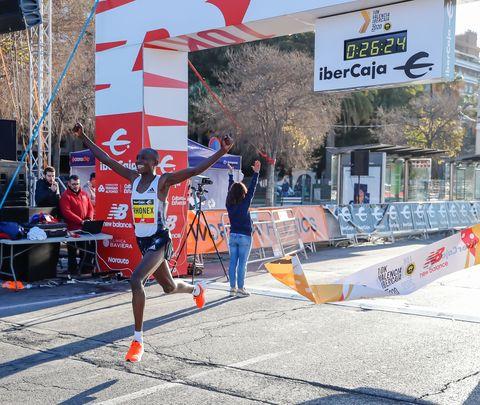 Kenya's Rhonex Kipruto set a new 10K road world record on 1/12/20 during a race in Valencia, Spain.