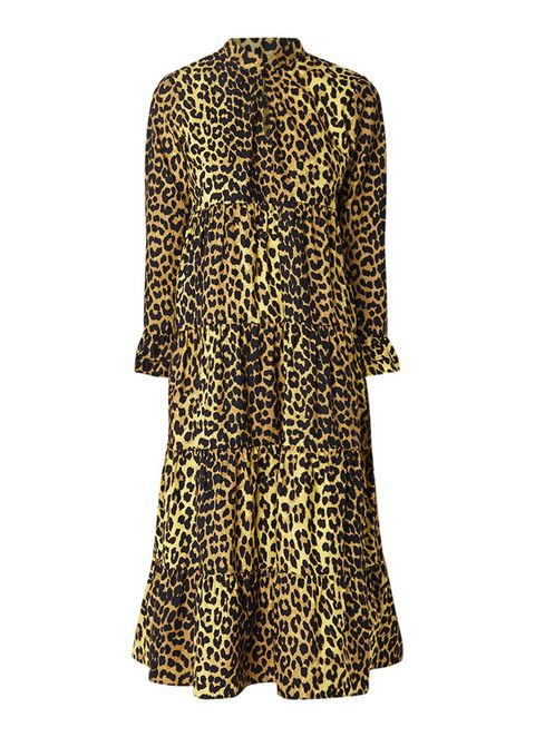 Clothing, Day dress, Yellow, Dress, Outerwear, Sleeve, Pattern, Coat, Neck, Cover-up,