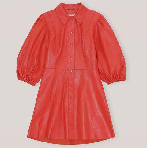 ganni red leather dress lunar new year