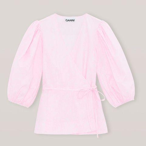 ganni pink blouse valentines day