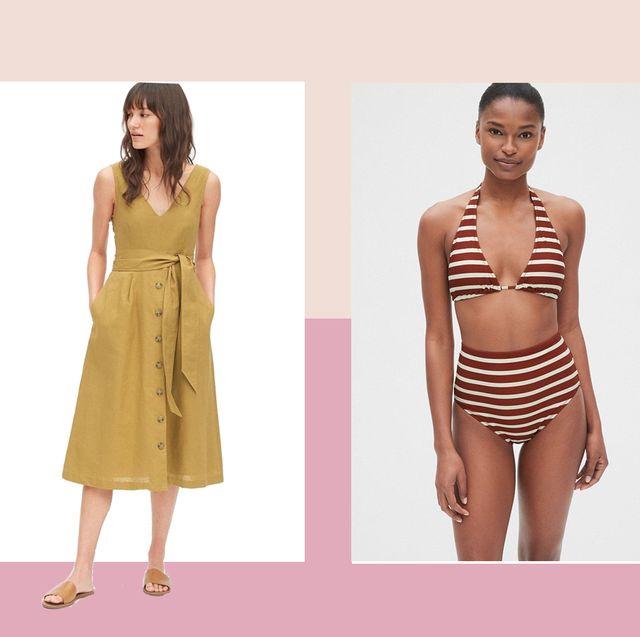 Clothing, Fashion model, Dress, Day dress, Yellow, Fashion, Shoulder, Pattern, Pattern, Sleeve,