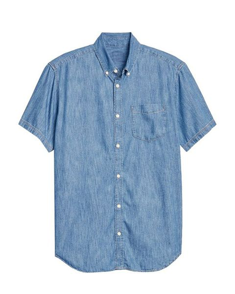 Clothing, Denim, Blue, Sleeve, Button, Shirt, Jeans, Textile, Pocket, T-shirt,