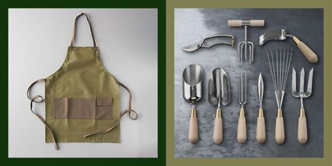 waxed canvas apron from terrain, garden tools from williams sonoma