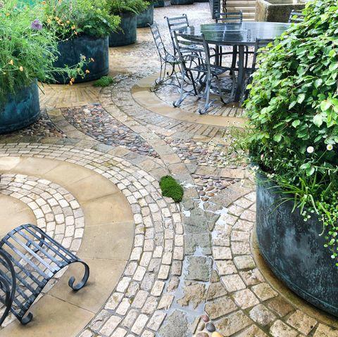 Dallage circulaire, jardin de la roue du ruban par Butter Wakefield