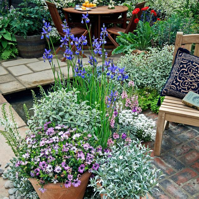 garden oasis, patio with planted containers and seating for outdoor eating