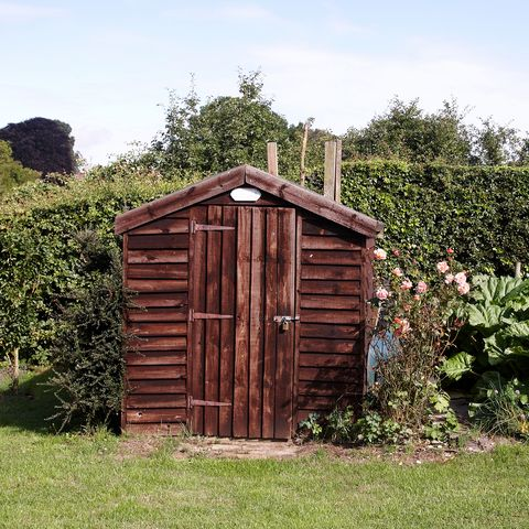 Brown wooden garden shed