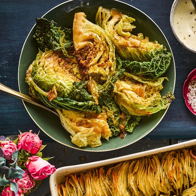 garlic fondant savoy cabbage