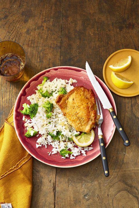garlic lemon chicken with broccoli rabe