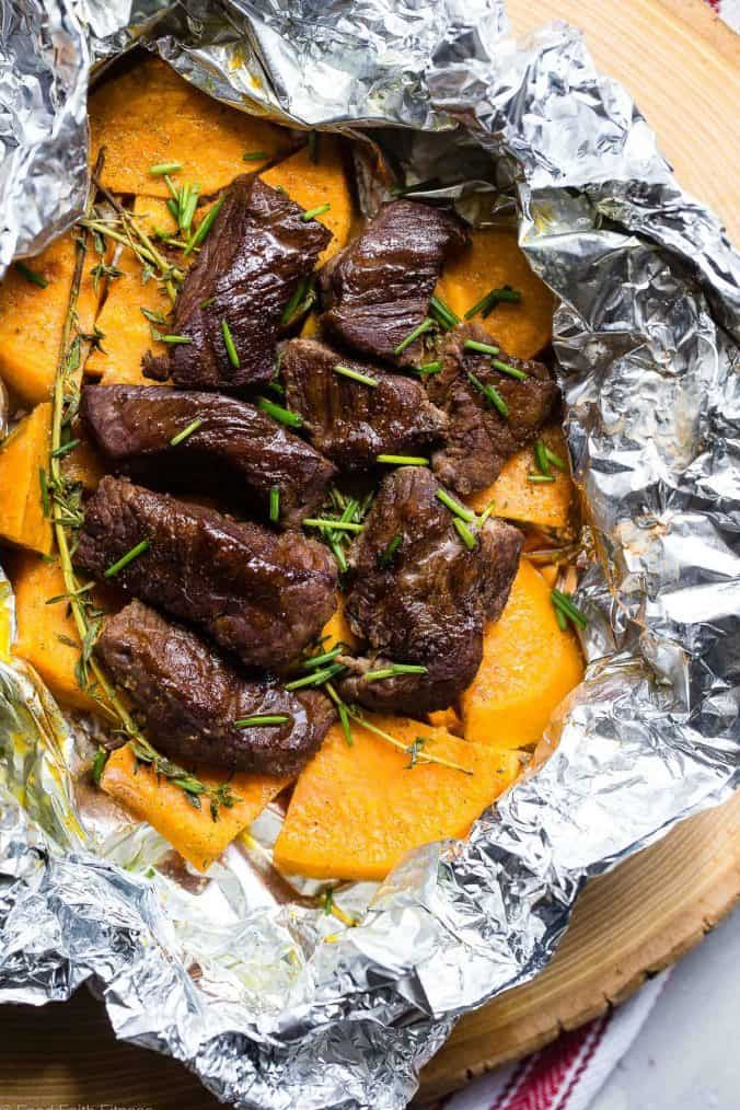 garlic steak and potato foil packets