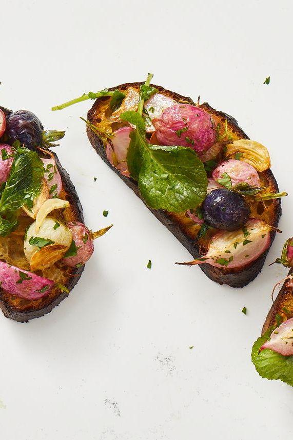 garlicky roasted radish bruschetta