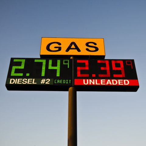 Gas Price Sign on Highway