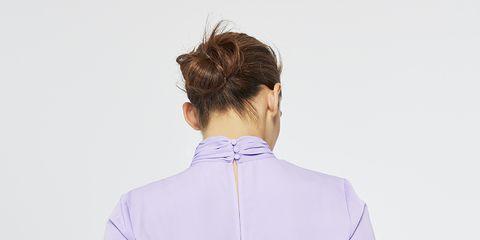 Clothing, Shoulder, White, Purple, Collar, Violet, Neck, Lilac, Sleeve, Lavender,